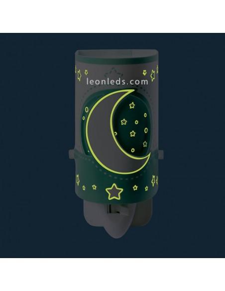 Quitamiedos LED verde con estrellas y lunas serie Moon Light con interruptor | LeonLeds Iluminación Infantil
