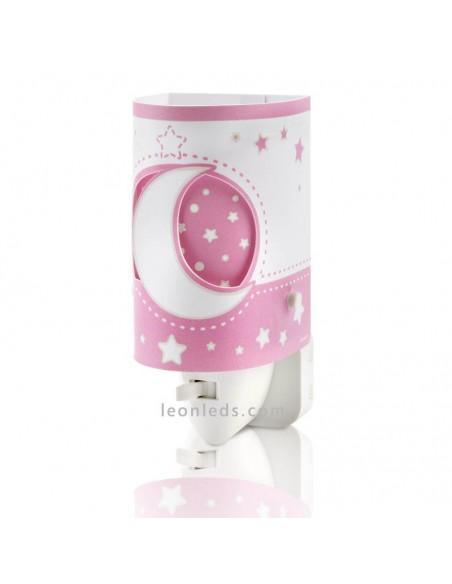 Quitamiedos Infantil LED Rosa Serie Moon Light con Estrellas y Lunas | LeonLeds Iluminación Infantil