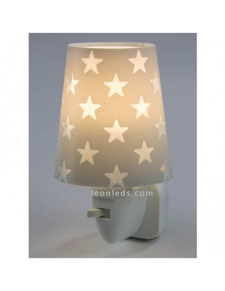 Quitamiedos LED con estrellas de diseño infantil de la serie Stars de Dalber de color Gris | LeonLeds Iluminación