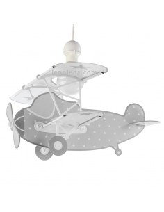 Lámpara Infantil de Techo con forma de Avión Gris y Blanca de la serie Stars con estrelas 54212E   LeonLeds Iluminación