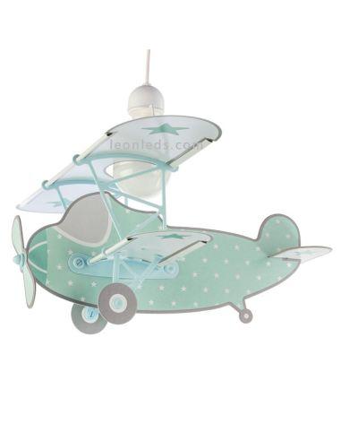 Lámpara Infantil de Techo con forma de Avión Verde de la serie Stars con estrelas 54212H | LeonLeds Iluminación