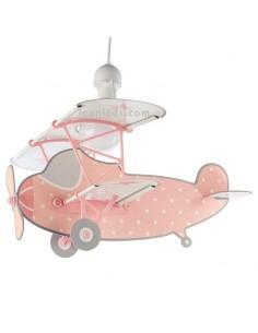 Lámpara Avión Infantil de Techo con forma de Avión Rosa de la serie Stars con estrellas 54212S | LeonLeds Iluminación