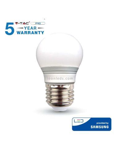 Bombilla Led Esferica Vtac Pro VT-245 262 E27 G45 4.5W- Esférica Chip Samsung con 5 años de garantia baratas | LeonLeds Ilumina