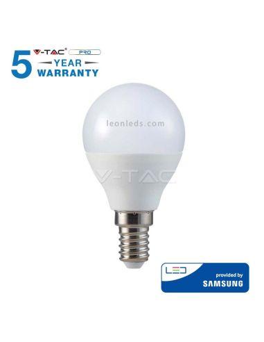 Bombilla LED Esferica P45 E14 de Vtac Gama Pro Opaca Blanca | LeonLeds Iluminación LED