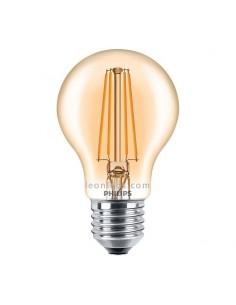 Bombilla Gold Philips Led E27 A60 -7.5W- Filamento 300º | Bombilla Vintage LED A60 | LeonLeds Iluminación