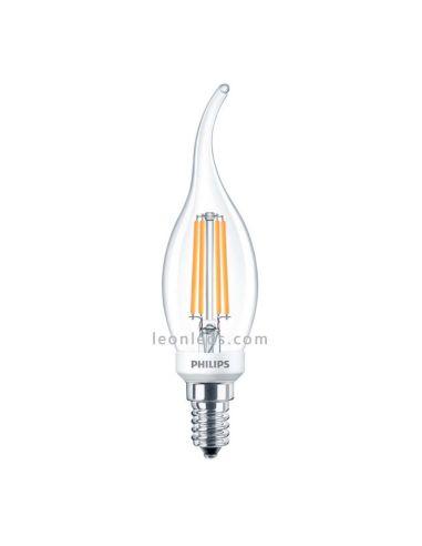 Bombilla LED de Filamento Philips E14 | Bombilla LED vela Llama de Filamento 5W | LeonLeds Iluminación