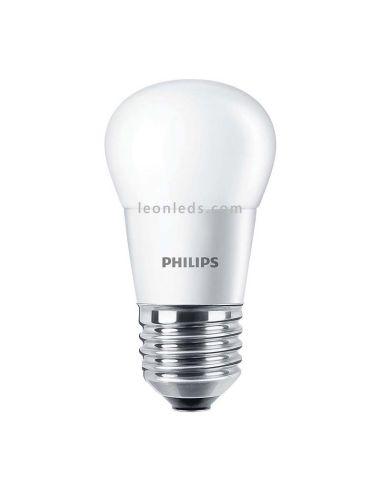 Bombilla Esférica Led E27 G45 7W Philips | Esferica Potente de 7w equivalente a 60W blanca mate | LeonLeds Iluminación