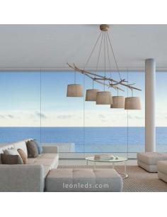 Lámpara Colgante de Techo Rústica Serie Sabina 5L para estilos nórdicos al mejor precio | LeonLeds Iluminación