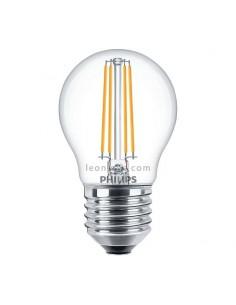 Bombilla LED Esferica E27 Regulable de Filamento | Philips LED Esferica regulable 5W equivalente a 40W Cristal | LeonLeds