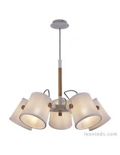 Lámpara de Techo de color Blanca y Madera | Lámpara Colgante de Techo Nordica II 5460 | LeonLeds Iluminación