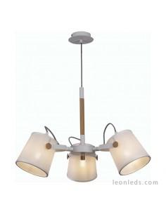 Lámpara de Techo de color Blanca y Madera | Lámpara Colgante de Techo Nordica II 5461 | LeonLeds Iluminación
