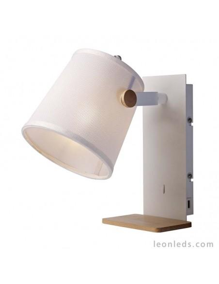 Aplique de interior para la pared Blanco y madera | Aplique de pared Nordico II Blanco Madera 5462 | LeonLeds Iluminación