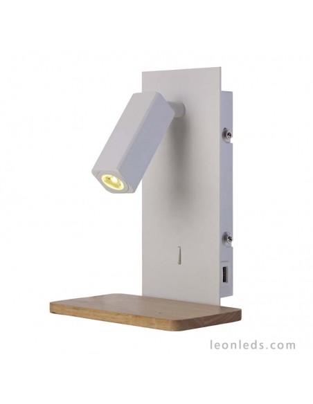 Aplique de interior LED para la pared Blanco y madera   Aplique de pared Nordico II Blanco Madera 5463   LeonLeds Iluminación
