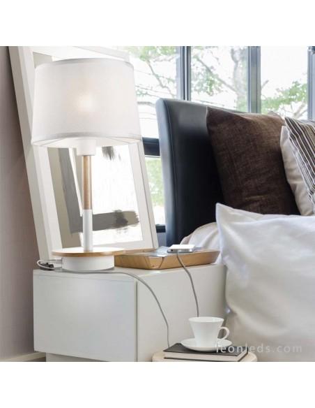 Lámpara de Sobremesa serie Nordica de color Blanco 5464 con pantalla textíl Blanca   LeonLeds Iluminación