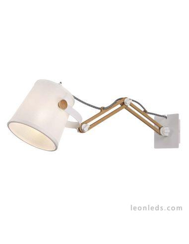 Aplique de Pared extensible Blanco y madera | Aplique de pared serie Nordica 2 5466 de Mantra | LeonLeds Iluminación