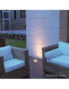 Foco empotrable suelo para exterior de acero Inox redondo| Foco empotrable Dopo modelo Bora | LeonLeds Iluminación