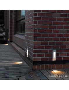 Baliza para exterior LED Dambel Gris de Dopo | Baliza empotrable LED para exterior rectangular | LeonLeds Iluminación