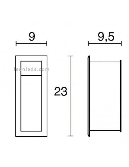 Baliza para exterior LED Belvedere Gris de Dopo | Baliza empotrable LED para exterior rectangular de Dopo | LeonLeds Iluminaci
