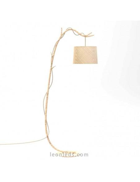 Lámpara Pie de Salón Rústica Serie Sabina color madera de Mantra 6182 | Leonleds Iluminación