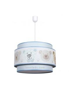 Lámpara Infantil de techo serie Panda Azul 35Cm 1XE27 | Lámpara infantil de techo barata Celeste | LeonLeds Iluminación