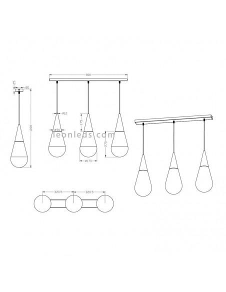 Lámpara de Techo colgante blanca moderna | Lámpara colgante con 3 pantallas barata | LeonLeds Iluminación