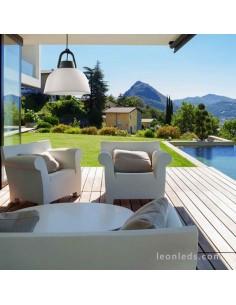 Lámpara de techo Exterior Blanca y Gris Antracita Kinké | Lámpara colgante exterior Kinke | LeonLeds.com