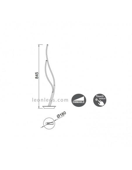 Lámpara Sobremesa LED Dimmable 18W Corinto | Lámpara de mesa de noche moderna LED | LeonLeds