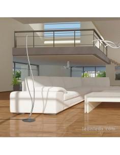 Lámpara de Pie LED Plata Cromo Corinto 6108 | Lámpara de pie Salón LED barata | Leonleds Iluminación
