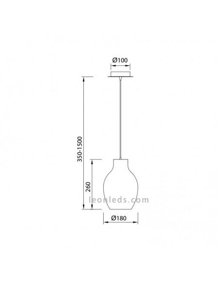 ámpara de techo de Cristal serie Anfora Cromo | Lámpara colgante moderna Cromada Anfora 6273 | LeonLeds