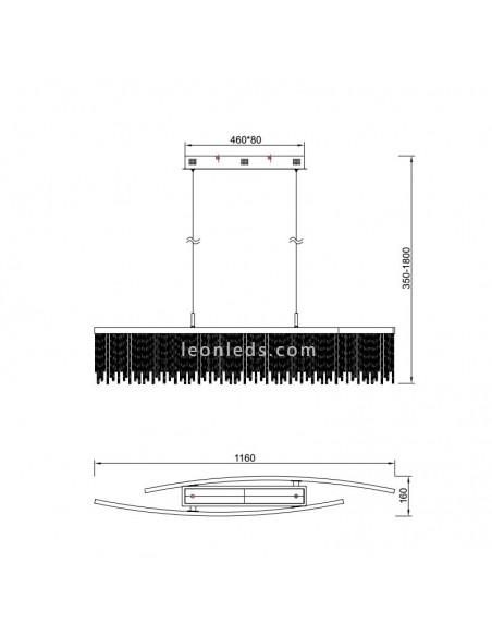 Dimensiones Lámpara de Techo LED serie Cinna Cromada   Lámpara de techo LED   LeonLeds Iluminación