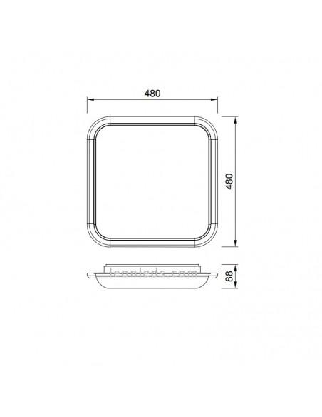 Dimensiones Plafón LED cuadrado | Medidas Plafón LED cuadrado Fase 6249 de Mantra | Leonleds iluminación