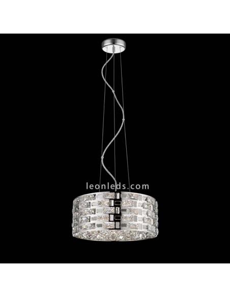Lámpara de Techo Destello   Lámpara de techo cromada y Cristal   Lámpara colgante   LeonLeds Iluminación