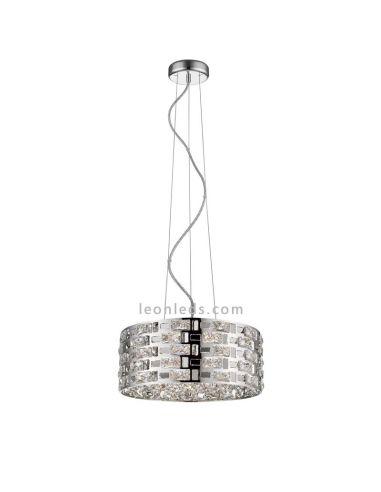 Lámpara de Techo Cromo Cristal   Lámpara cromada de techo   Lámpara Destello de Mantra   LeonLeds