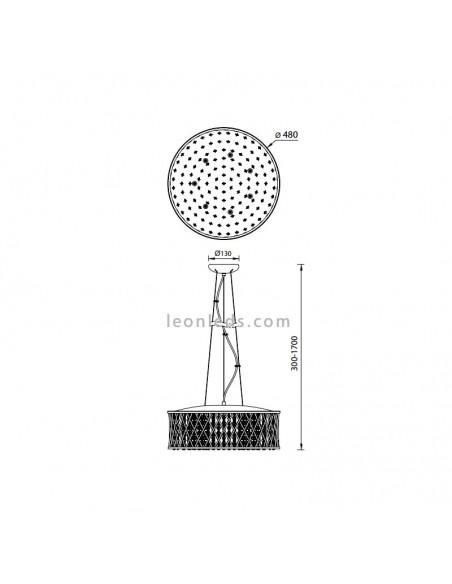 Dimensiones Lámpara de Techo 6255 Destello de Mantra | Lámpara Colgante de Techo Cromada | LeonLeds Iluminación
