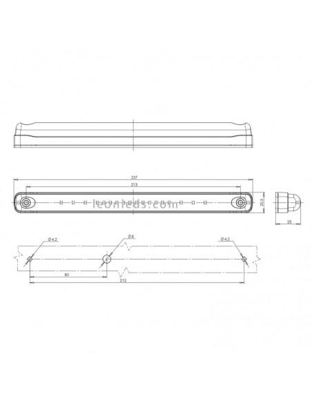 Dimensiones Barra LED Ambar de advertencia   Barra LED advertencia LED   LeonLeds Iluminación