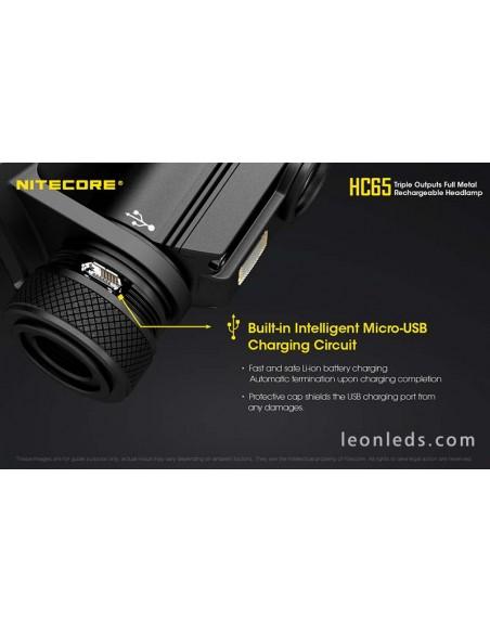 Nitecore HC65 | Linterna LED de cabeza recargable Nitecore | LeonLeds Iluminación