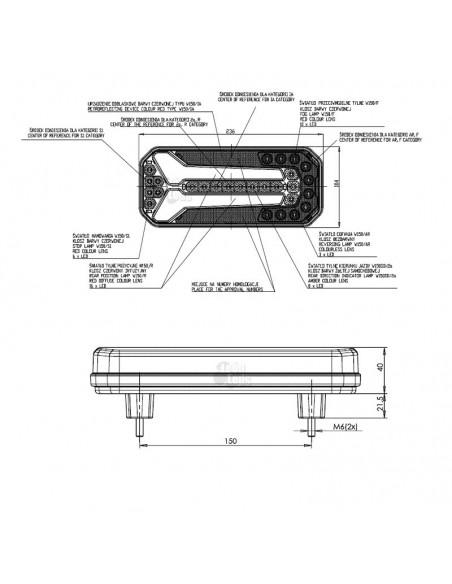 Dimensiones Piloto LED trasero para camión Homologado | Piloto trasero LED Was | LeonLeds Iluminación
