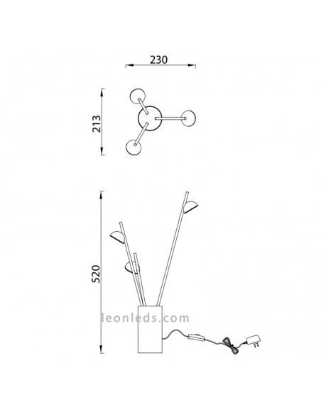 Medidas Lámpara de Sobremesa Led de la serie ADN 6267 de Mantra iluminación al mejor precio | Leonleds Iluminación