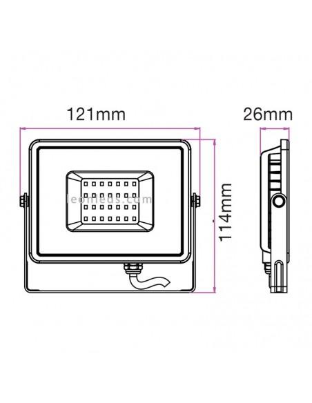Medidas Proyector Led 10W 3000K Blanco cálido de Vtac Pro al mejor precio de internet | LeonLeds Iluminación