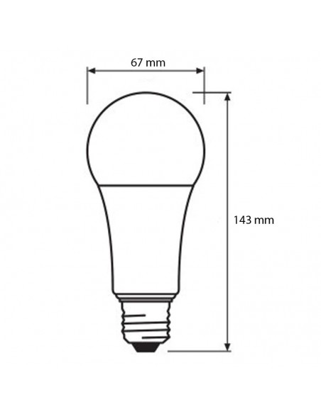 Dimensiones de Bombilla LED Osram A67 150W | Medidas de Bombilla LED E27 A67 | LeonLeds Iluminación