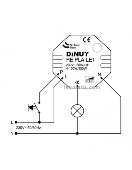 Esquema de instalación Re Pla Le1 Dinuy | Instalación regulador Lámparas LED | LeonLeds Iluminación