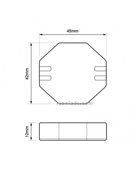 Dimensiones Replale1 Dinuy | Medidas de regulador de pastilla para Lámparas LED | LeonLeds Iluminación