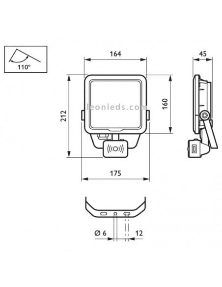 Dimensiones de soporte y de proyector LED Philips Ledinaire con sensor de movimiento para exterior | LeonLeds Iluminación