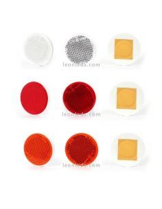 Catadioptricos redondos adhesivos Rojo Naranja y Blanco | LeonLeds Iluminación
