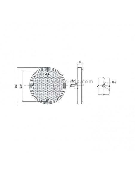 Catadióptrico Redondo con tornillo de 3 colores y 85 mm | LeonLeds Iluminación