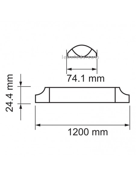 Dimensiones regleta LED 120Cm 667 | Regleta LED superficie Vtac Pro | LeonLeds Iluminación