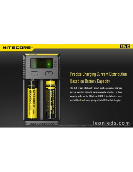 Cargador Nitecore I2 con indicador LED | Cargador de 2 Bahias para baterias 18650 26650 | LeonLeds Iluminación