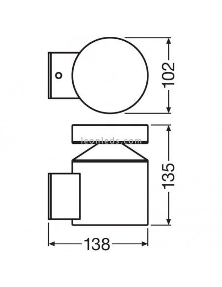 Dimensiones de Aplique LED de exterior   Aplique LED de exterior LedVance   LeonLeds Iluminación