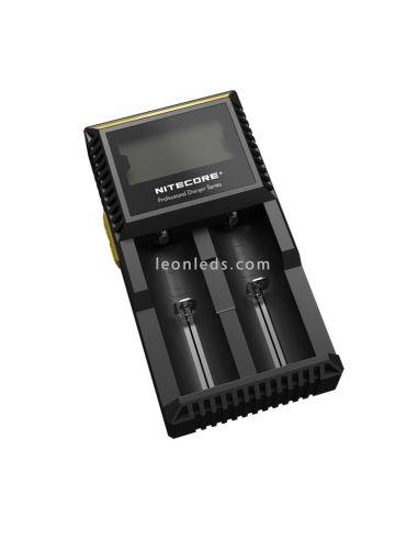 Cargador de 2 bahías Nitecore D2 | Cargador Nitecore D2 | Cargador para 2 baterias | LeonLeds Iluminación