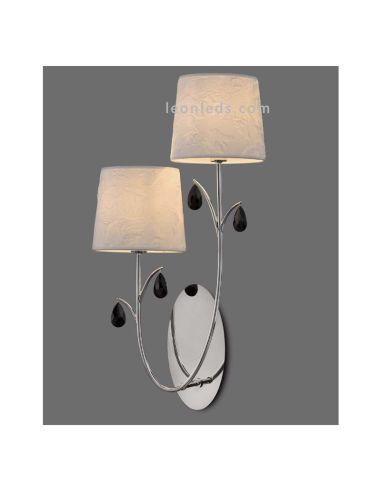 Aplique cromado con pantallas blancas en pared Blanca   Aplique de interior de la serie Andrea de Mantra   LeonLeds Iluminación